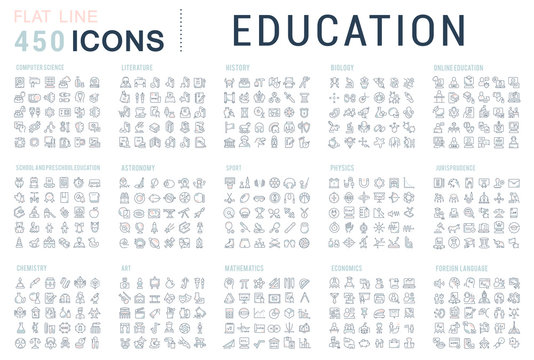 Set Vector Line Icons of Education