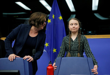 Swedish environmental activist Thunberg arrives to deliver a speech during a meeting with the environment committee of the European Parliament in Strasbourg