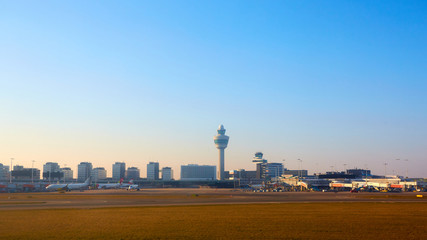 Canvas Prints Amsterdam Amsterdam, Netherlands - March 11, 2016: Amsterdam Airport Schiphol in Netherlands. AMS is the Netherlands' main international airport, located southwest of Amsterdam.