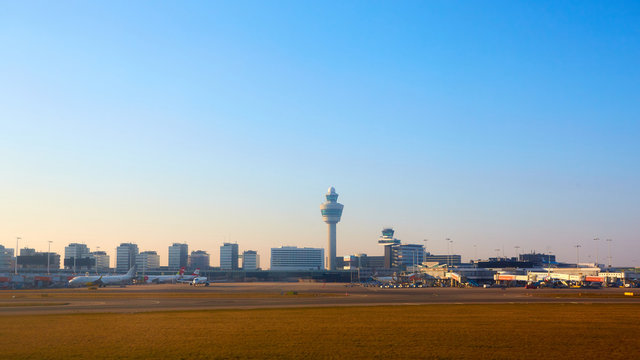 Amsterdam, Netherlands - March 11, 2016: Amsterdam Airport Schiphol in Netherlands. AMS is the Netherlands' main international airport, located southwest of Amsterdam.