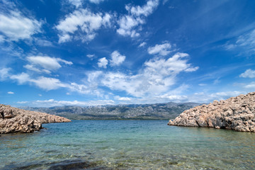 Adriatic Sea Bay With View Over Paklenica National Park Mountains