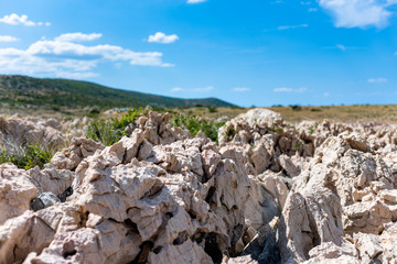Rocks On Coastline Of Adriatic Sea In Dalmatia