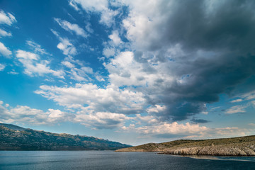 Adriatic Sea Bay With Dramatic Sky Overlooking Paklenica National Park Mountains