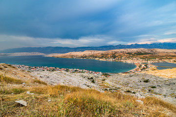 Scenic View Over Village On Pag Island In The Evening