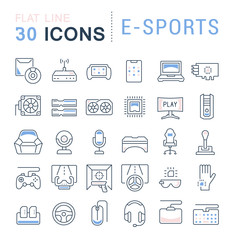 Set Vector Line Icons of E-Sports.