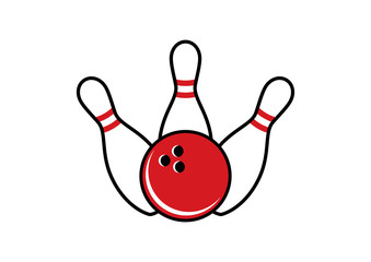 Bowling pins and bowling ball vector. Bowling icon isolated on a white background. Bowling logo vector. Three white bowling pins and red bowling ball