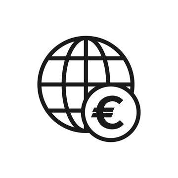 Euro sign with globe icon. Digital illustration of globe and euro. International money transfer outline icon.