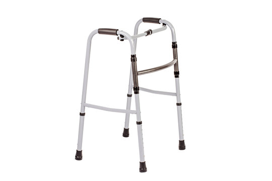 Medical walker for patient, elderly, assistive device isolated on a white background. Medical concept.