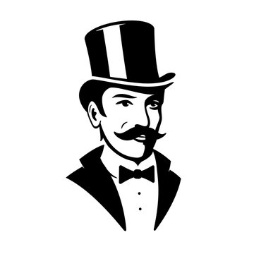 Victorian Gentleman Top Hat Logo Icon