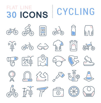 Set Vector Line Icons of Cycling.
