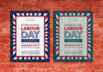 Happy Labor Day Poster Layout with Stars
