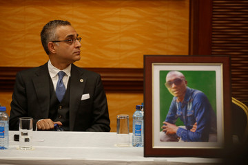 American lawyer Nomi Husain who represents the family of Kenyan man George Kabau who died in the Ethiopian Airlines crash attends a news conference where he announced the plan to file a wrongful-death lawsuit against Boeing, in Nairobi