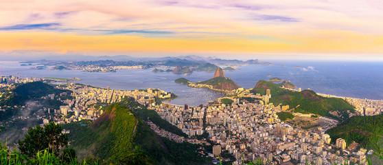 The mountain Sugarloaf and Botafogo in Rio de Janeiro, Brazil. One of the main landmark of Rio de Janeiro. Sunset skyline of Rio de Janeiro Fototapete