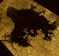 Ligeia Mare shown in data obtained by NASA's Cassini spacecraft, in handout picture