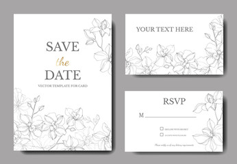 Vector Orchid floral botanical flowers. Silver engraved ink art. Wedding background card floral decorative border.