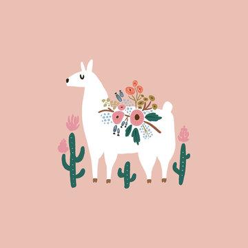 Cute bohemian llama drawing with floral decor elements, hand drawn vector illustration