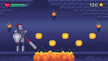 Retro computer games level. Pixel art video game scene 8 bit warrior character collects gold coins, pixels gaming vector illustration