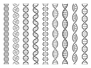Seamless DNA spiral. Adn helix structure, genomic model and human genetics code pattern vector illustration set