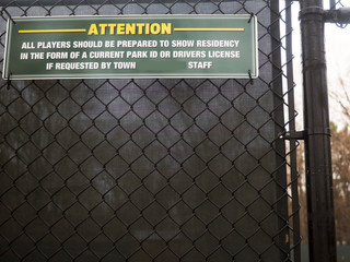 sign public tennis court  i.d. identification for residents Bedford, New York