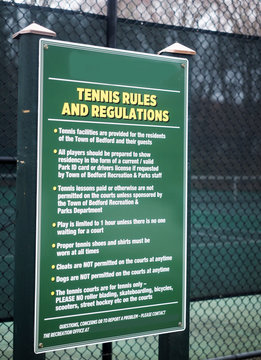 tennis rules regulation sign public town tennis courts Bedford, New York
