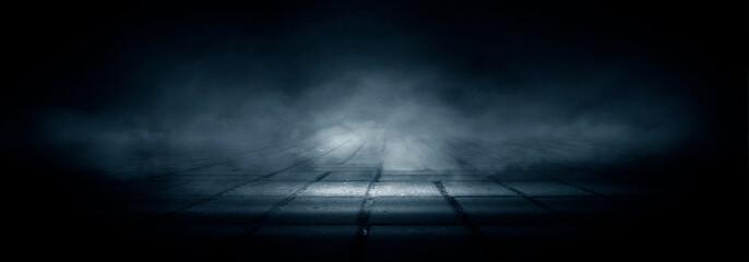 Dark street, night smog and smoke. Dark background of the night city, ray of light in the dark. Gloomy dark background. Wall mural