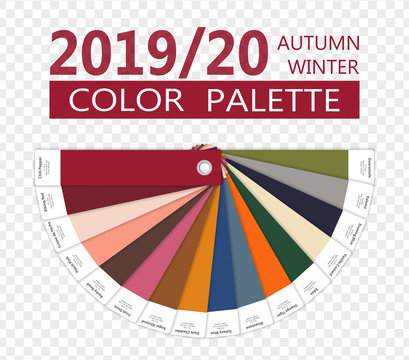 Round Autumn and Winter 2019 - 2020 fashion color palette. Worlds colors of the year. Palette fashion colors guide with names. Fashion color trend of New York. Vector illustration