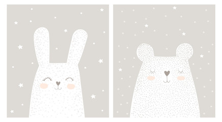 Cute Hand Drawn White Rabbit and Teddy Bear Vector Illustration Set. Lovely Nursery Art with Funny Bunny And Dreaming Big Bear. White Stars and Snow on a Light Gray Background. Kids Room Decoration.