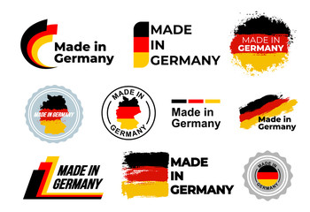 Made in Germany logo. Set of design German flag in map quality label icon. Vector illustration. Isolated on white background. Fotomurales