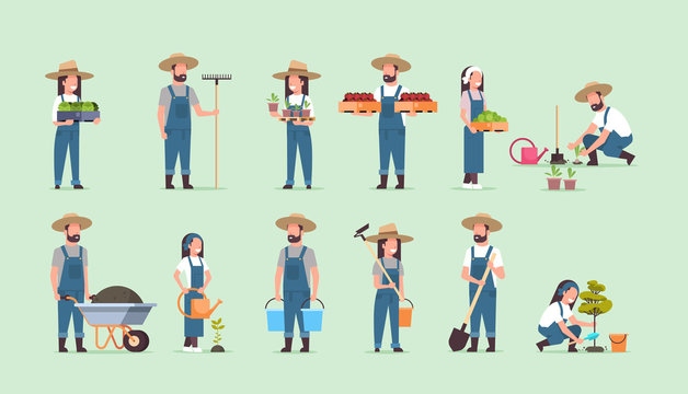 set male female farmers holding different farming equipment harvesting planting vegetables agricultural workers collection eco farming concept flat full length horizontal