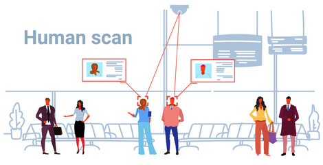 passengers identification facial recognition concept people standing modern airport hall interior security camera surveillance cctv system sketch doodle horizontal