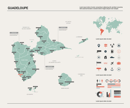 Vector map of Guadeloupe.  High detailed country map with division, cities and capital. Political map,  world map, infographic elements.
