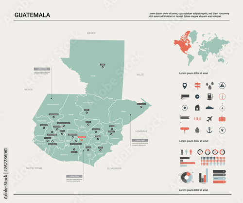 Vector map of Guatemala. High detailed country map with division ...