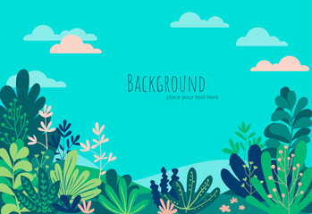 Fototapeten Reef grun Vector illustration in trendy flat simple style - tropical background with copy space for text - landscape with beach, palm trees, plants - background for banner, greeting card, poster