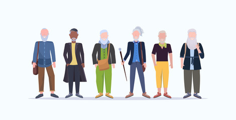 Wall Mural - casual mature men standing together smiling senior gray haired mix race people wearing trendy clothes male cartoon characters full length flat white background horizontal