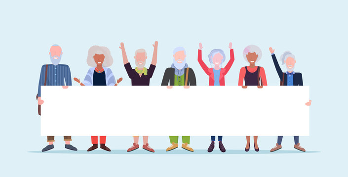 mature men women standing together holding empty placard sign board demonstration concept senior gray haired mix race people male female cartoon characters full length horizontal
