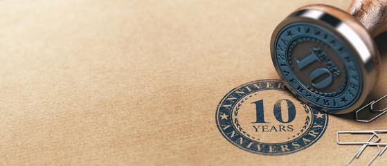 Tenth Anniversary Horizontal Background, One Year Celebration Card