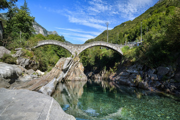 Medieval stone bridge Salti near Lavertezzo in Switzerland