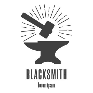 Silhouette icon of a hammer and anvil. Blacksmith, repair logo. Clean and modern vector illustration.