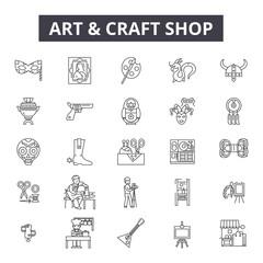 Art and craft shop line icons, signs set, vector. Art and craft shop outline concept illustration: craft,art,deshop,background