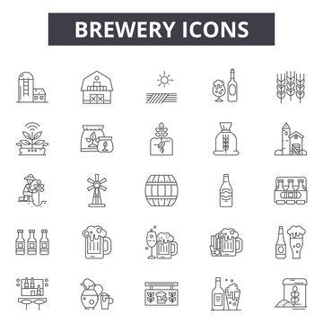 Brewer line icons, signs set, vector. Brewer outline concept illustration: brewer,beer,alcohol,drink,brewery,beverage,design