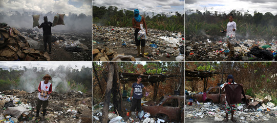 A combination picture shows Venezuela migrants holding what they scrape on a garbage dump in the border city of Pacaraima