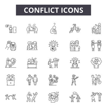 Conflict line icons, signs set, vector. Conflict outline concept illustration: conflict,business,people,deflat