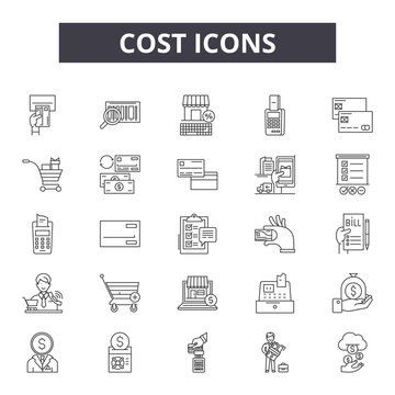 Cost 2 line icons, signs set, vector. Cost 2 outline concept illustration: cost,business,money,finance,dollar,price