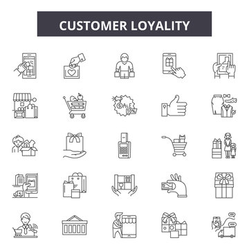Customer loyality line icons, signs set, vector. Customer loyality outline concept illustration: customer,marketing,business,loyalty,loyal,client,service,concept