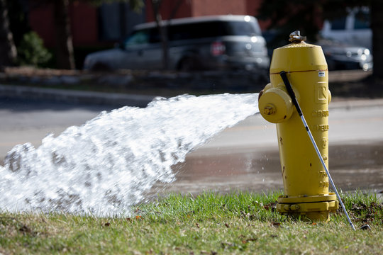 Fire Safety Hydrant Maintenance Open Water Flow Street Gushing