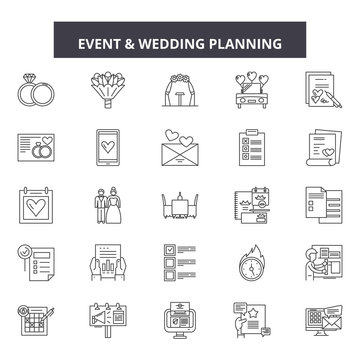 Event & wedding planner line icons, signs set, vector. Event & wedding planner outline concept illustration: wedding,planner,event,marriage,plan,bride,love,ceremony