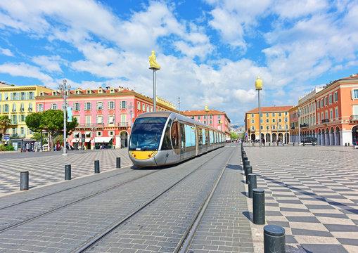 Massena Square NIce, France, April 14, 2019 -- Place Massena Nice, France on Palm Sunday in 2019.