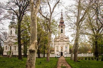 Church in a park in center of small town. Alibunar in Serbia.