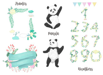 Panda watercolor drawing animal illustration cute animal greeting, birthday celebration card, black funny bear and numbers and frames, character digital flowers ribbon on white background.