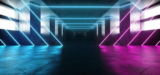 Sci Fi Elegant Futuristic Alienship Modern Long Dark Grunge Concrete Reflective Empty Tunnel Corridor With Neon Glowing Purple  Blue Lights White Windows Background 3D Rendering